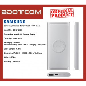Original Samsung Wireless Battery Pack 10000mAh Power Bank with Type-C Cable