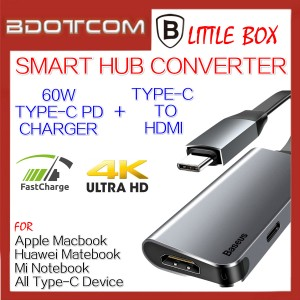 Baseus Little Box 60W Type-C PD Charger + Type-C to 4K HDMI Smart Hub Converter