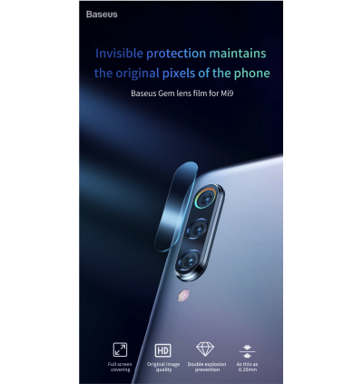 Baseus 2 Pcs 0.15mm Camera Lens Glass Film Protector For Xiaomi Mi 9