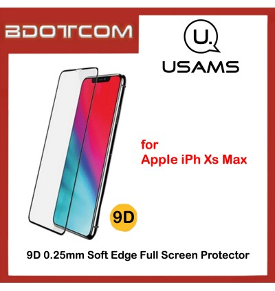 Usams 9D 0.25mm Soft Edge Full Tempered Glass Screen Protector for Apple iPhone Xs Max