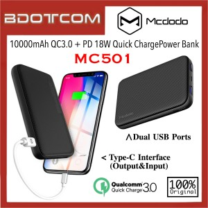 Mcdodo MC-501 10000mAh QC3.0 + PD 18W Fast Charge Power Bank