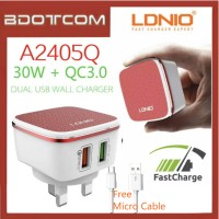 LDNIO A2405Q QC3.0 + Auto iD Dual USB Port 30W Quick Charge Charger For Samsung / Apple / Xiaomi / Huawei / Oppo / Vivo