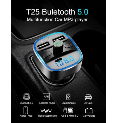 T25 Car Charger MP3 Player FM Transmitter with Bluetooth Dual USB Port and Micro SD Slot