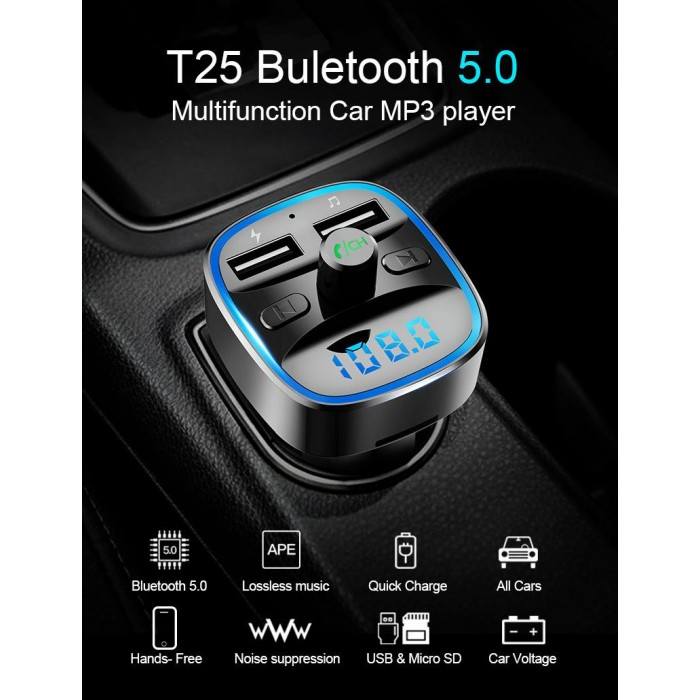 T25 Car Charger MP3 Player FM Transmitter with Bluetooth Dual USB