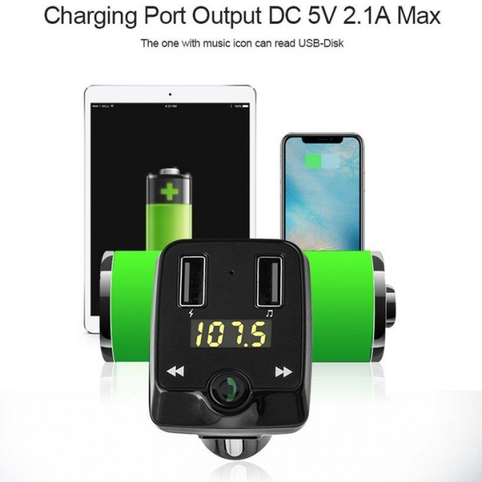 T22 Car Charger MP3 Player FM Transmitter with Bluetooth Dual USB