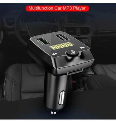 T22 Car Charger MP3 Player FM Transmitter with Bluetooth Dual USB Ports and Micro SD Slot