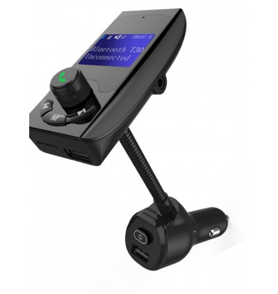 T30 Car Charger MP3 Player FM Transmitter with Bluetooth Dual USB Ports and Micro SD Slot