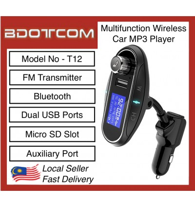 T12 Car Charger MP3 Player FM Transmitter with Bluetooth Dual USB Ports Micro SD Slot and Auxiliary Port
