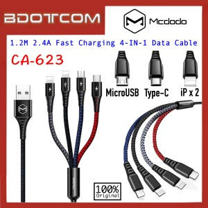 Mcdodo CA-623 1.2M 2.4A Fast Charging 4 in 1 Data Cable (2 x iP & MicroUSB & Type-C)