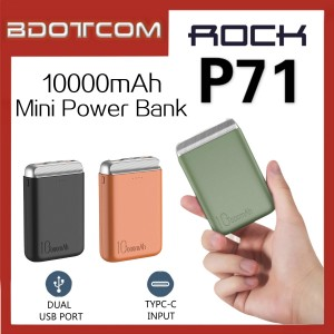 Rock P71 10000mAh Dual USB Port Mini Power Bank