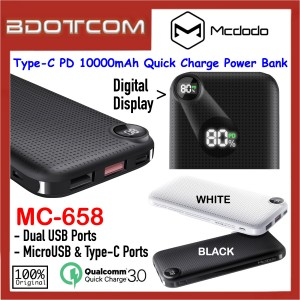 Mcdodo Longan Series MC-658 Digital Display 10000mAh Type-C PD + QC3.0 Quick Charge Power Bank