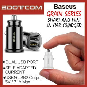 Baseus Grain series Dual USB Port 3.1A Quick Charge Mini In Car Charger