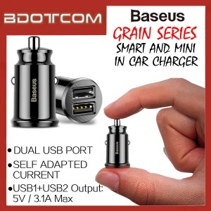 Baseus Grain series Dual USB Port Quick Charge Mini In Car Charger
