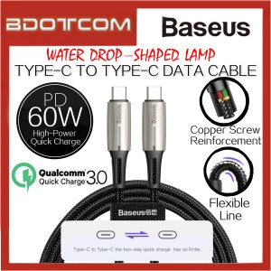 Baseus Water Drop-Shaped Lamp PD2.0 60W QC3.0 Type-C to Type-C Data Cable for Macbook Air / Macbook Pro / Huawei P20 / P20 Pro / Mate 10 / Mate 10 Pro / Mate 20 / Mate 20X / Mate 20 Pro / P30 / P30 Pro