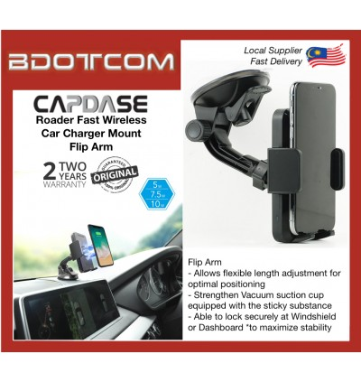Original Capdase ROADER Fast Wireless Car Charging Mount Flip Arm for Windshield or Dashboard