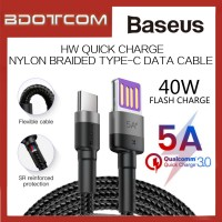 Baseus Cafule HW Quick Charge 40W 5A Nylon Braided Double-sided Blind Interpolation Type-C Cable For Macbook Air / Macbook Pro / Huawei P20 / P20 Pro / Mate 10 / Mate 10 Pro / Mate 20 / Mate 20X / Mate 20 Pro / P30 / P30 Pro
