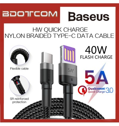 Baseus Cafule HW Quick Charge 40W 5A Nylon Braided Type-C Cable