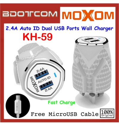 Moxom KH-41 2.4A Auto ID Dual USB Ports Wall Charger with MicroUSB Cable
