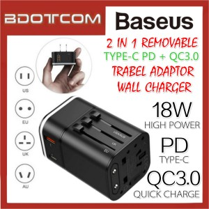 Baseus 2 in 1 Removable 18W Type-C PD + QC3.0 PPS Quick Charge Travel Adaptor Wall Charger