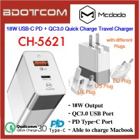 Mcdodo CH-5621 18W USB-C PD + QC3.0 Quick Charge Travel Charger for Macbook iPhone Samsung Huawei