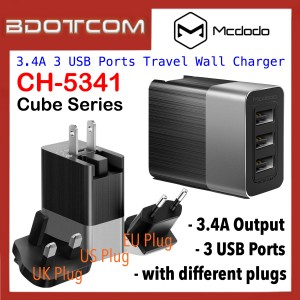 Mcdodo CH-5341 Cube Series 3.4A 3 USB Ports Travel Wall Charger with US / UK / EU Plugs