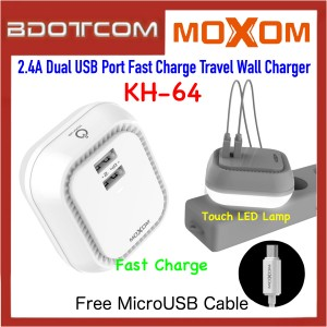 Moxom KH-64 Touch LED 2.4A Dual USB Port Fast Charge Travel Wall Charger