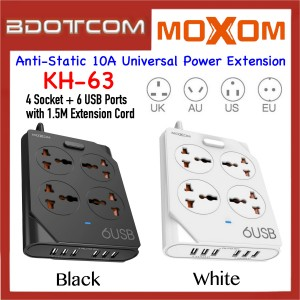 Moxom KH-63 Anti-Static 10A 4 Socket + 6 USB Ports Universal Power Extention with 1.5M Cord