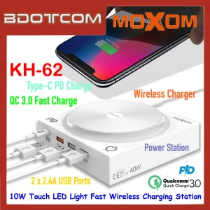 Moxom KH-62 10W Touch LED Light Fast Wireless Charger with Multi Ports ( QC3.0 + USB-C PD + 2 * 2.4A Ports )