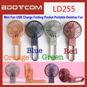 Mini Fan LD255 USB Charge Folding Pocket Portable Desktop Fan