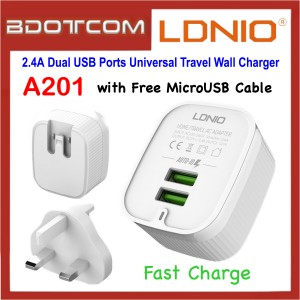 LDNIO A201 2.4A Dual USB Ports Fast Charge Universal Travel Wall Charger with MicroUSB Cable