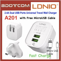 LDNIO A201 2.4A Dual USB Ports Fast Charge Universal Travel Wall Charger with Micro USB Cable For Samsung / Apple / Huawei / Xiaomi / Oppo / Vivo