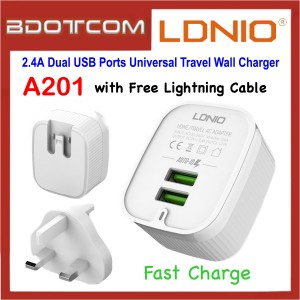 LDNIO A201 2.4A Dual USB Ports Fast Charge Universal Travel Wall Charger with Lightning Cable