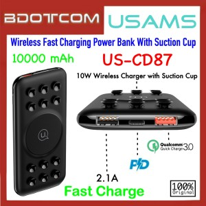 Usams US-CD87 10000mAh 10W QC3.0 + PD Wireless Fast Charging Power Bank With Suction Cup