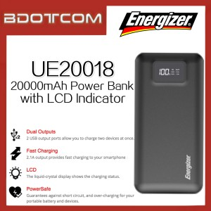 Energizer UE20018 20000mAh Dual USB Port Power Bank with LCD Indicator