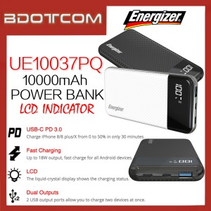 Energizer UE10037PQ 10000mAh Type-C PD + QC3.0 18W Fast Charge Power Bank with LCD Indicator