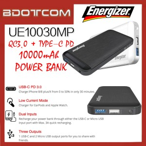 Energizer UE10030MP 10000mAh Type-C PD + QC3.0 Fast Charge Power Bank