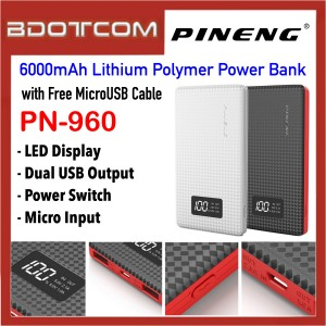 Pineng PN-960 LED Display 6000mAh Dual USB Ports Lithium Polymer Power Bank with MicroUSB Cable