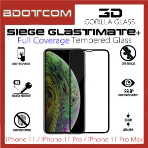 Siege Glastimate+ 3D Gorilla Full Coverage Tempered Glass for iPhone 11 / iPhone 11 Pro / iPhone 11 Pro Max