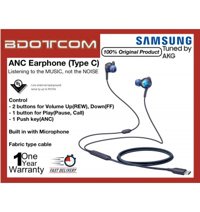 Original Samsung ANC Type C Earphone Tuned By AKG for Samsung Galaxy Tab S4, Tab S5E, Tab S6, Note10, Note 10 Plus, Note 9, Note 8, S10, S10+, S10E