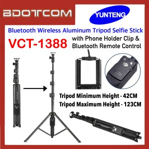 Original Yunteng VCT-1388 Bluetooth Wireless Aluminum Tripod Selfie Stick with Phone Holder Clip & Bluetooth Remote Control for SmartPhone / Camera
