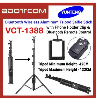 Original Yunteng VCT-1388 Bluetooth Wireless Aluminum Tripod Selfie Stick with Phone Holder Clip & Bluetooth Remote Control for SmartPhone / Camera