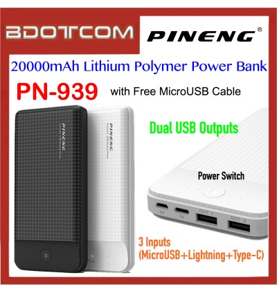 Pineng PN-939 20000mAh Dual USB Ports + 3 Input Lithium Polymer Power Bank with MicroUSB Cable