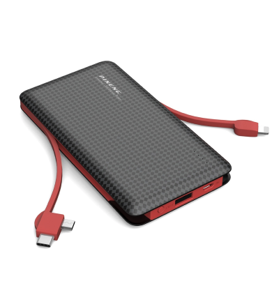 Pineng PN-956 10000mAh Single USB Port + Built-In 2 Cable Lithium Polymer Power Bank with MicroUSB Cable