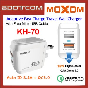 Moxom KH-70 Dual USB Ports AUTO ID 2.4A + Quick Charge 3.0 Adaptive Fast Charging Travel Wall Charger with MicroUSB Cable