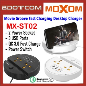 Moxom MX-ST02 Movie Groove 2 Socket + 3 USB Ports QC 3.0 Fast Charging Desktop Charger