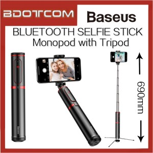 Baseus Aluminum Alloy Foldable Bluetooth Wireless Selfie Stick Monopod with Tripod Stand