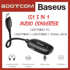 Baseus L51 3 in 1 Lightning to Dual Lightning Port + 3.5mm Jack Audio Converter with Charging Adaptor For iPhone XR, iPhone Xs, iPhone Xs Max, iPhone 11, iPhone 11 Pro, iPhone 11 Pro Max