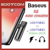 Baseus L43 Lightning to Lightning + 3.5mm Earphone Jack Audio Converter Charging Adaptor