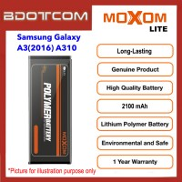 [1 Year Warranty] Original Moxom Lite High Capacity 2100 mAh Battery for Samsung Galaxy A3 (2016) A310