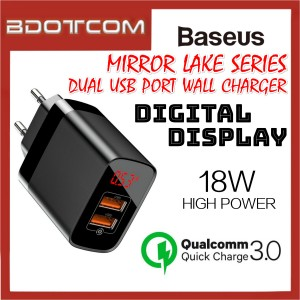 Baseus Mirror Lake 18W QC3.0 Dual USB Port Quick Charge Wall Plug Charger with Digital Display